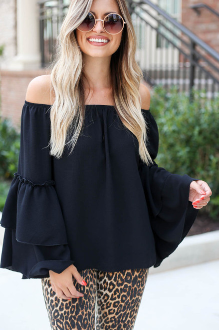 Black - Off the Shoulder Tiered Blouse