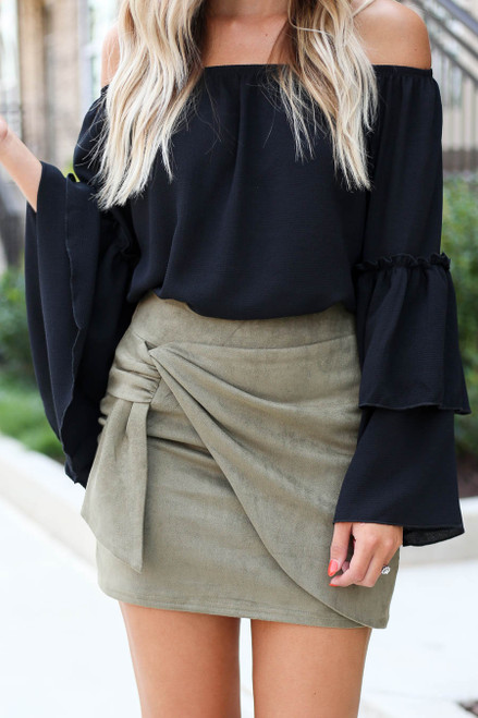 Olive - Faux Suede Wrap Skirt Detail View