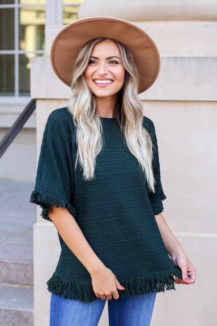 Green - Fringe Textured Top