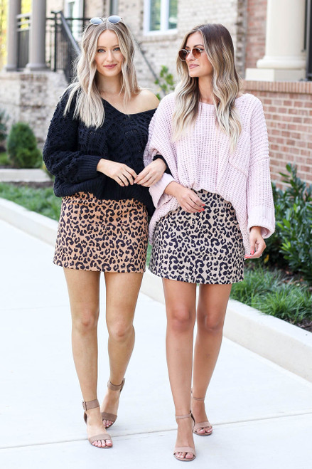 Mocha - and Taupe Faux Suede Leopard Mini Skirts