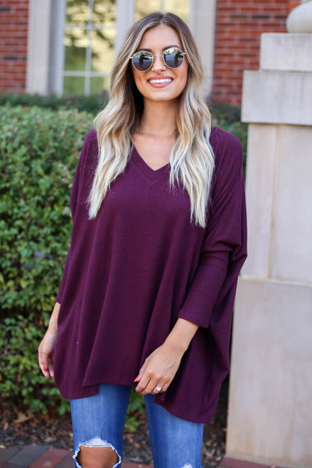 Burgundy - and Heather Grey Soft Knit Top