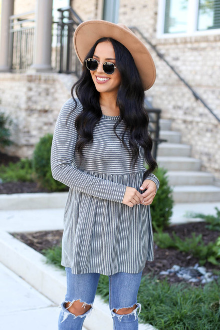 Charcoal - Striped Babydoll Top