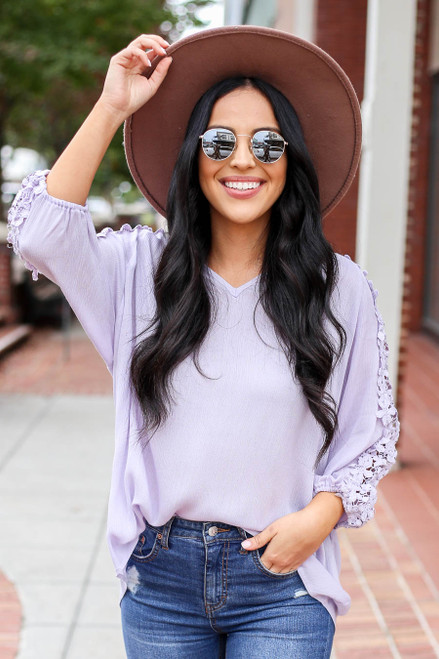 Lilac - Crochet Sleeve Top