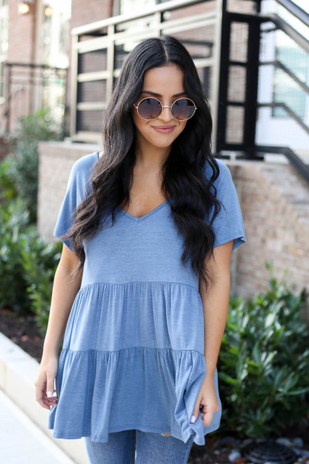 Denim - Tiered Babydoll Top