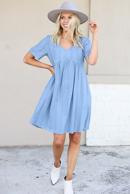 Blue - Textured Babydoll Dress with white boots