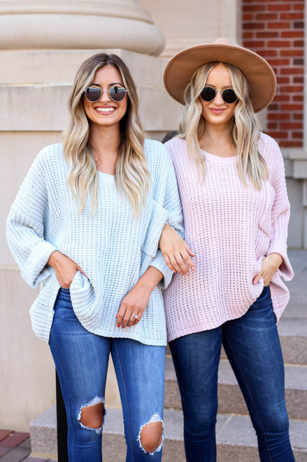 Blush - and Mint Oversized Chenille Sweaters
