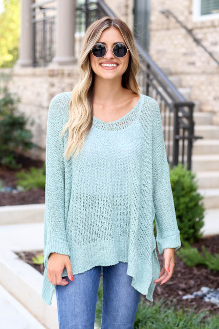 Mint - Oversized Open Knit Sweater Front View