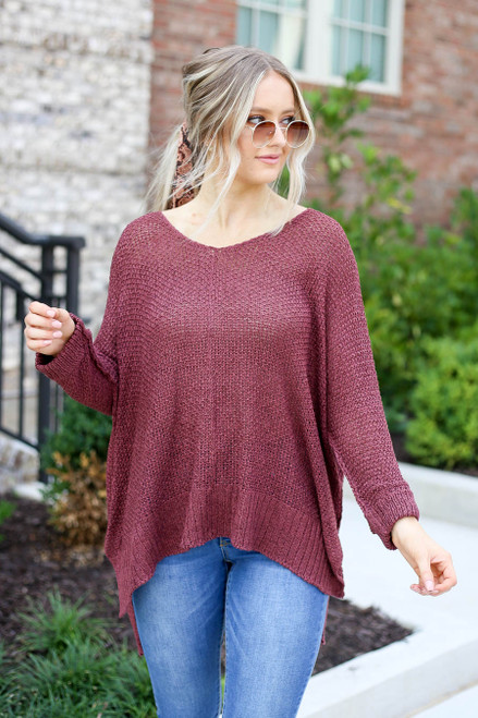 Burgundy - Oversized Open Knit Sweater