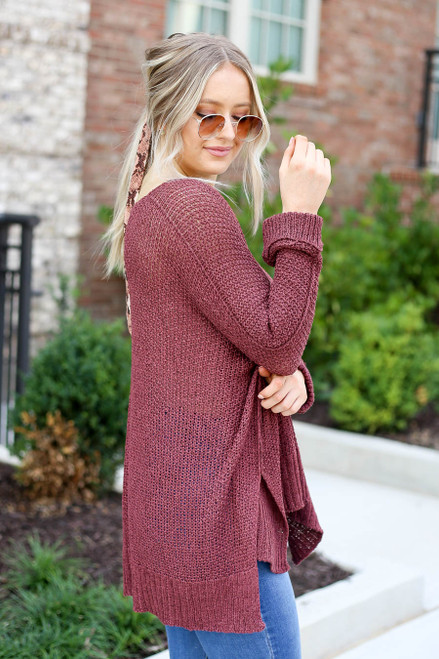 Burgundy - Oversized Open Knit Sweater Side View