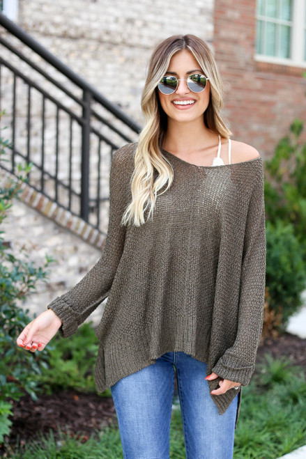 Olive - Oversized Open Knit Sweater