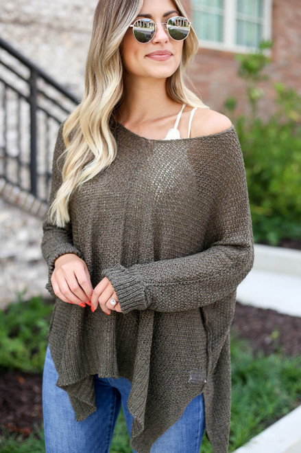 Olive - Oversized Open Knit Sweater Detail View