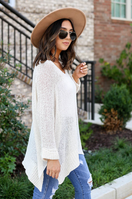 Ivory - Open Knit Oversized Sweater Side View
