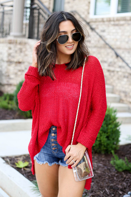 Red - Oversized Open Knit Sweater