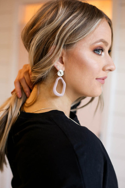 Mauve - Abstract Acrylic Earrings with Gold Nugget Stud on Model