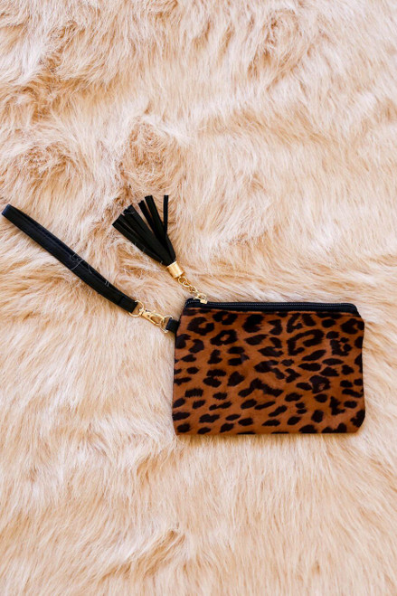 Tan - leopard print wristlet with tassel and strap