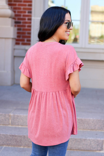 Red - Ruffle Sleeve Babydoll Top Back View
