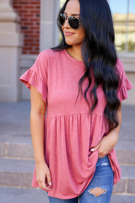 Red - Ruffle Sleeve Babydoll Top