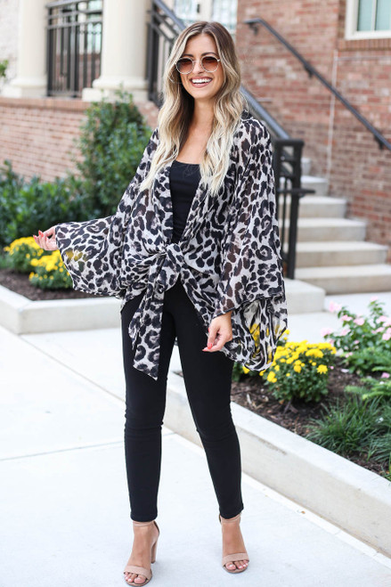 Grey - Tie-Front Sheer Leopard Print Kimono From Dress Up Full View