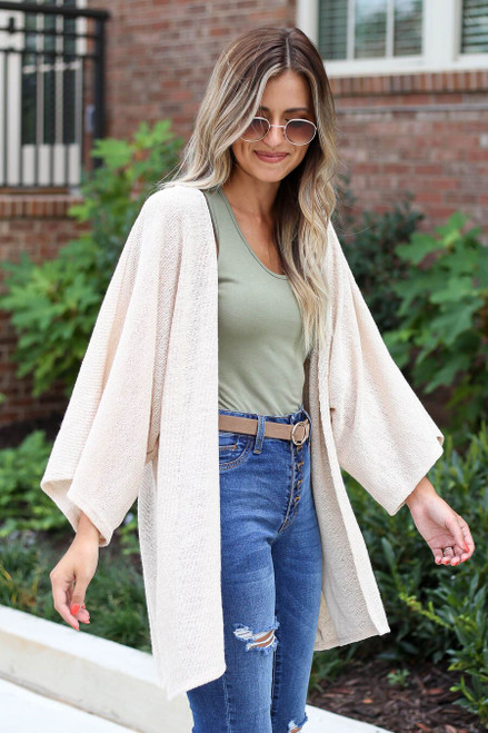 Taupe - Model wearing the Jacie Lightweight Cardigan Angled View