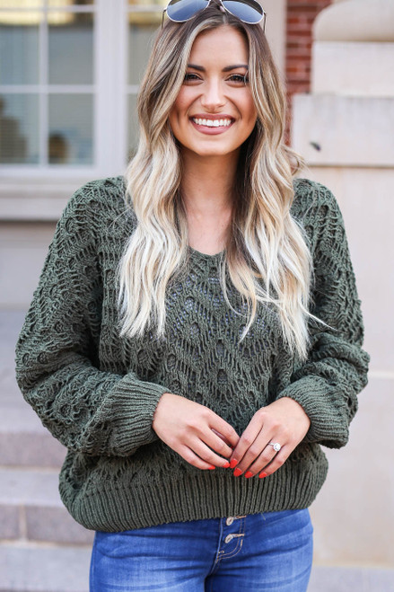 Dark Olive - Crochet Chenille Sweater