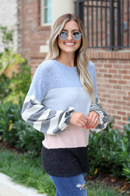 Denim - Soft Knit Balloon Sleeve Color Block Top Side View