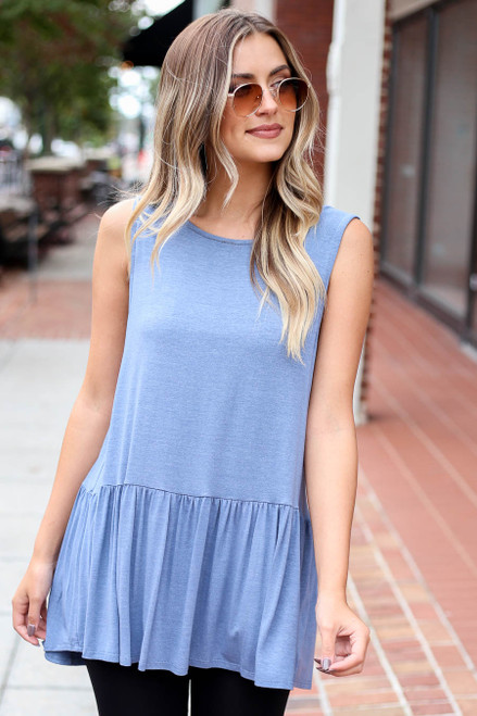 Denim - and Mauve Crochet Tanks From Dress Up