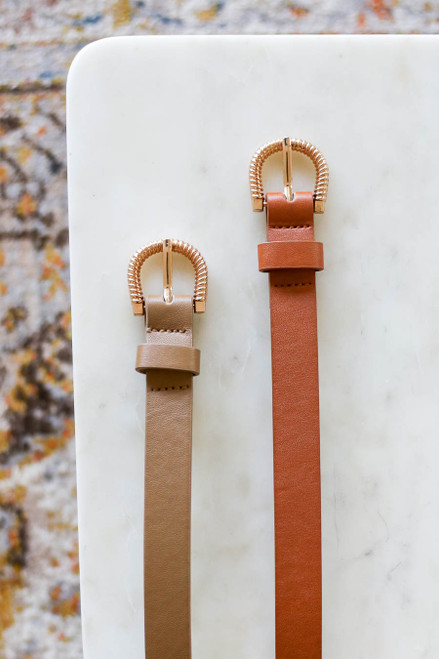 Camel - and Taupe Skinny Belt Flat Lay