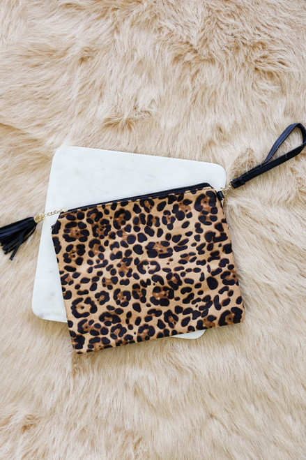 Camel - Oversized Leopard Print Clutch Without Strap Flat Lay