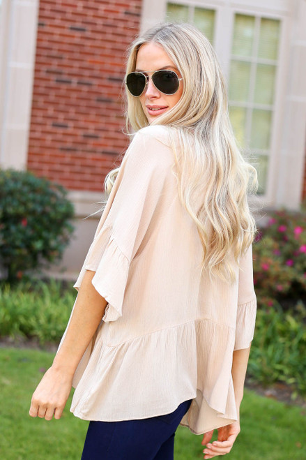 Ivory - Ruffle Sleeve Peplum Top Side View