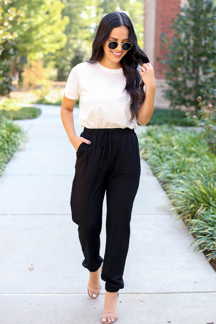 Black - High Waisted Joggers