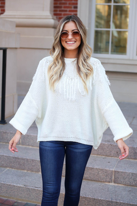 Dress Up Model wearing White Cute Knit Sweater with Fringe