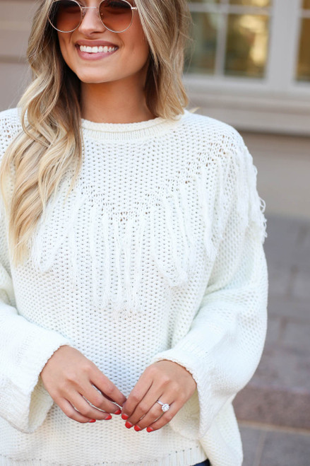 White - Cute Knit Sweater with Fringe Detail View