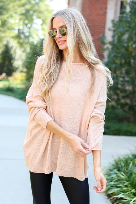 Pink - Open Knit Lightweight Sweater
