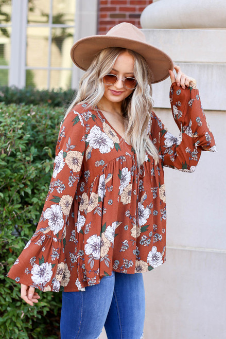 Rust - Floral Bell Sleeve Babydoll Blouse Side View