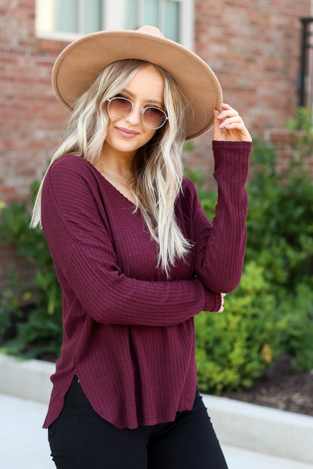 Burgundy - Waffle Knit Top Side View
