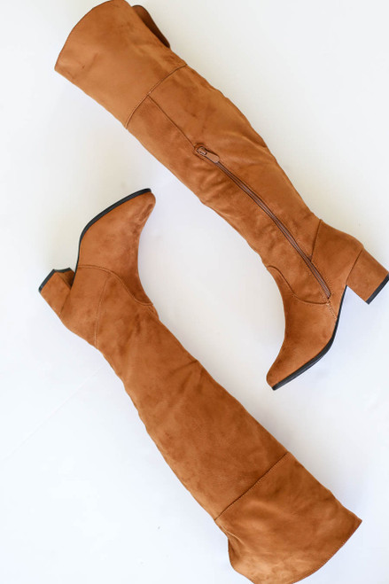 Tan - Over the Knee Block Heel Boots Flat Lay