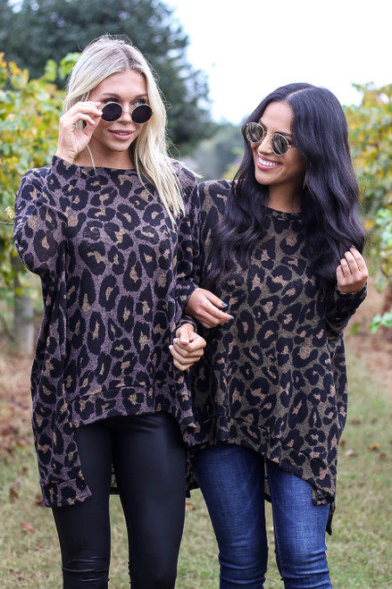 Mocha - and Olive Asymmetrical Leopard Knit Top