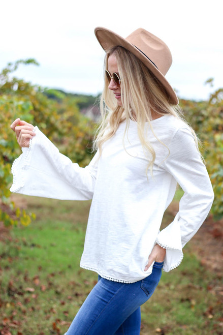 Ivory - Lace Trim Bell Sleeve Top Side View