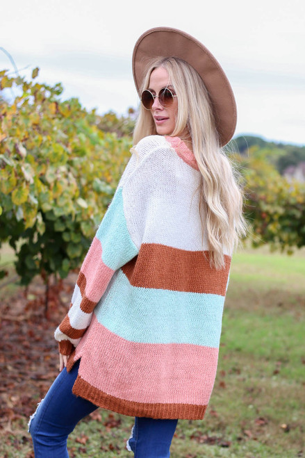 Pink - Oversized Striped Knit Sweater Back View