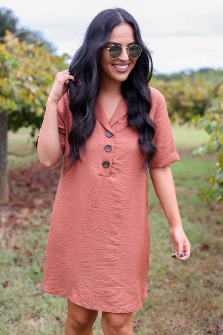 Marsala - Button Up Tunic Front View