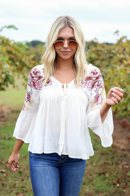 Ivory - Embroidered Babydoll Blouse Front View