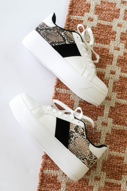 Snake - and White Chunky Platform Sneakers Flat Lay