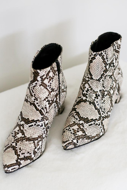 Brown - Brown and ivory snakeskin booties with point toe and block heel