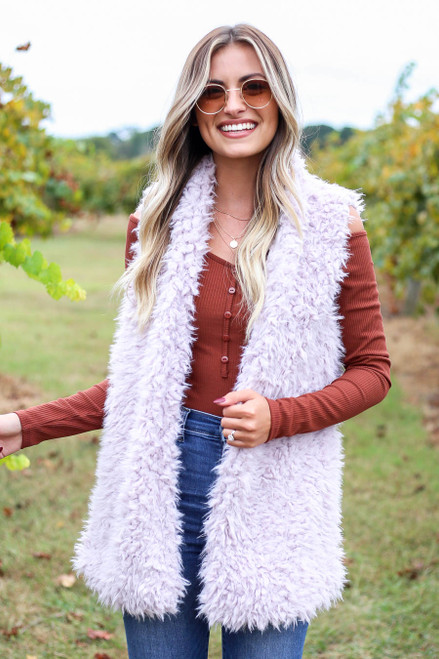 Purple - Faux Fur Vest