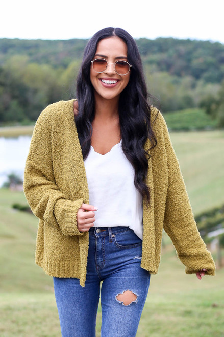 Lime - Plush Knit Cropped Cardigan from Dress Up