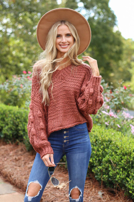Rust - V-Neck Pom Pom Sweater from Dress Up