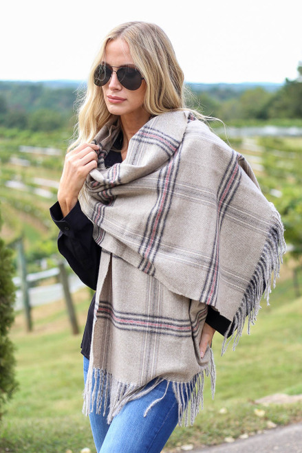 Taupe - Plaid Blanket Scarf Wrap