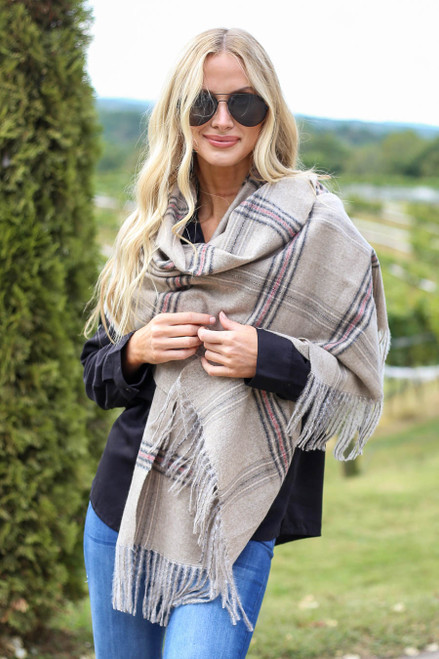 Taupe - Plaid Blanket Scarf