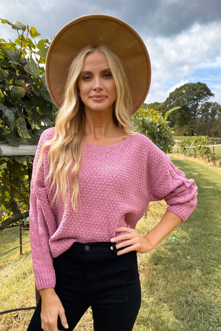 Pink - Chenille Cropped Sweater