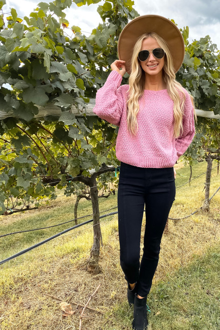 Pink - Chenille Cropped Sweater Full View